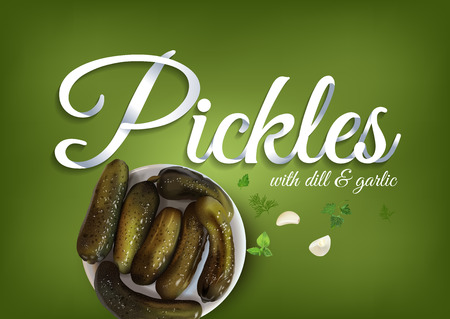 The pickled cucumbers, paper hand lettering calligraphy. Vector realistic illustration with pickles and objects of text.