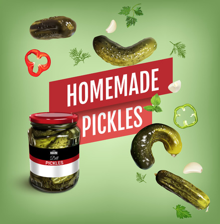Vector realistic illustration of pickled cucumber. Poster with pickles.
