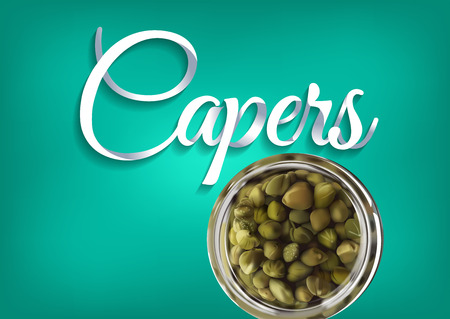 Pickled capers, paper hand lettering calligraphy. Vector realistic illustration with pickles and objects of text. Иллюстрация
