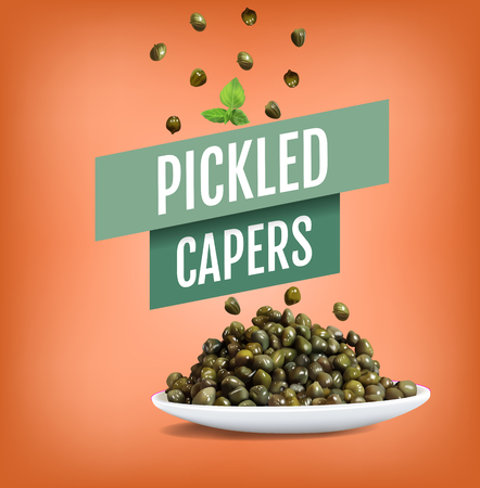 Vector realistic illustration of pickled capers. Poster with product.