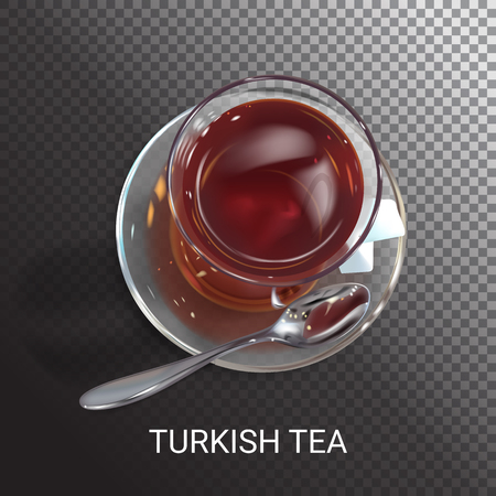 realistic illustration of a tea and glass. Colorful objects on a transparent background.