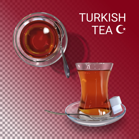 realistic illustration of Turkish tea time. Colorful objects on a transparent background. Иллюстрация