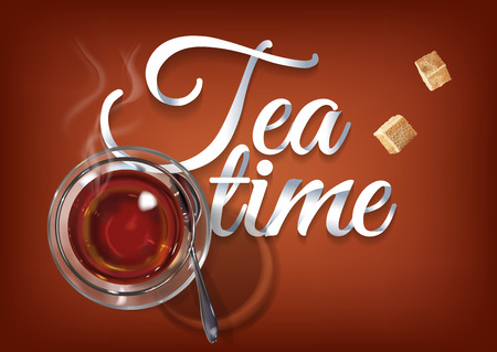 Tea time paper hand lettering calligraphy.   illustration with tea objects and text.