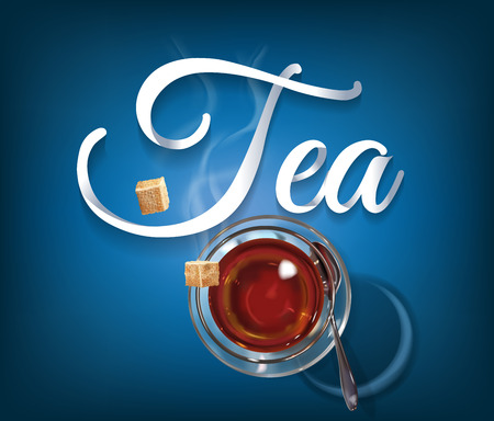 Tea time paper hand lettering calligraphy. illustration with tea objects and text. Иллюстрация