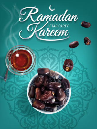Ramadan Kareem - paper hand lettering calligraphy of Iftar Party. Vertical banner of realistic illustration with tea and dates. Иллюстрация
