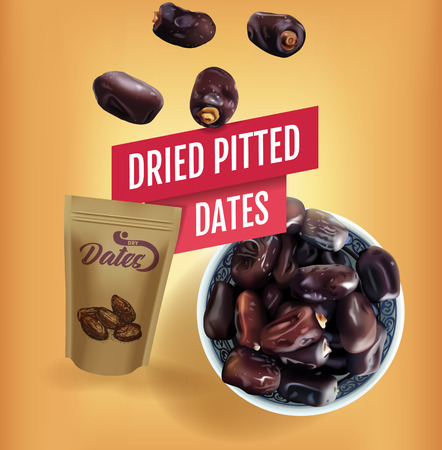 Dried dates ads. Vector realistic illustration of dried dates in a bowl. The banner with product and packaging mockup.