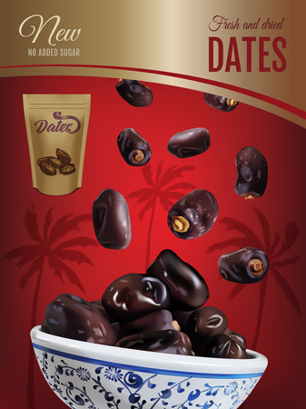 Dried dates ads. Vector realistic illustration of dried dates in a bowl. Vertical banner with product and packaging mockup.