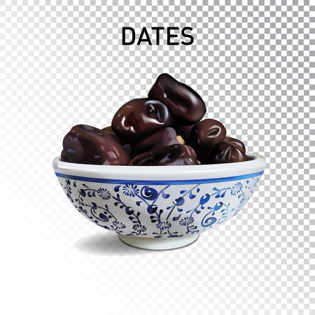 Vector realistic illustration of dried dates in bowl. Colorful objects on a transparent background.