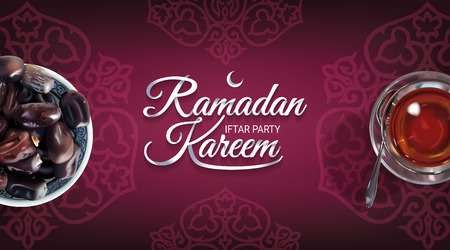 Ramadan Kareem - paper hand lettering calligraphy of Iftar Party. Horizontal banner of realistic illustration with tea and dates.