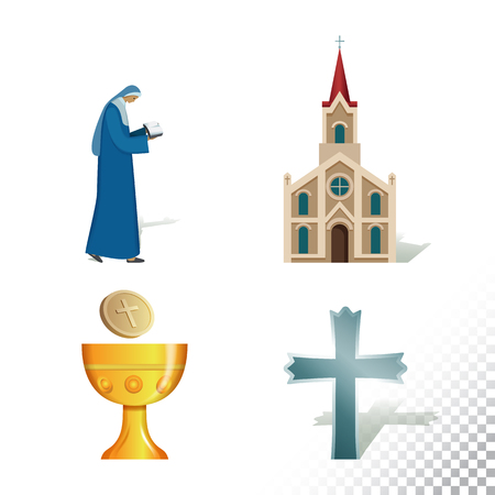 Vector flat icon illustration of symbolizing Catholicism. Colorful objects on a transparent background.  イラスト・ベクター素材
