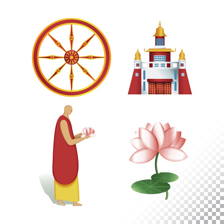 Vector flat icon illustration of symbolizing Buddhism. Colorful objects on a transparent background.