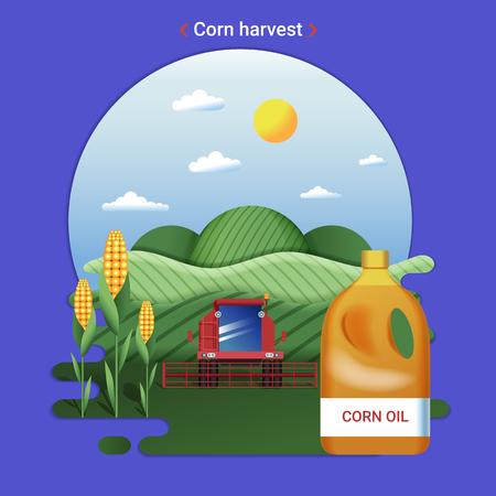 Flat farm landscape illustration of corn harvest. Rural landscape with corn fields and harvester.