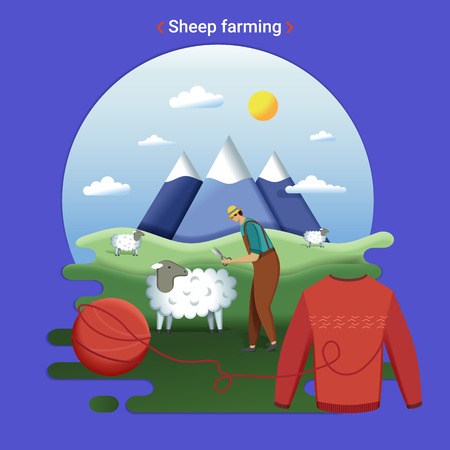 Flat farm landscape illustration of sheep farming. Rural landscape with grassland and mountains. The farmer cutting wool.