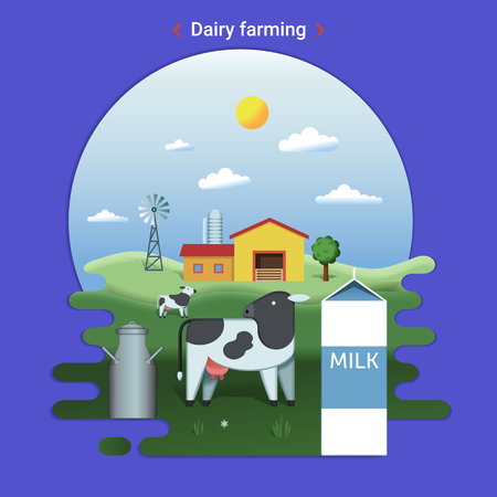 Flat farm landscape illustration of dairy farming. Rural landscape with grassland and countryside house. Cow grazes in the meadow.