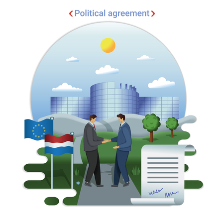 Flat city landscape illustration of political agreement in EU parlament. Two politicial men shake hands after signing an agreement near European Parliament building