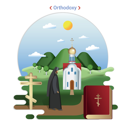 Flat rural landscape illustration symbolizing Orthodoxy. A Priest goes to serve in the Orthodox Church.