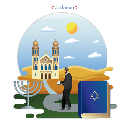 Flat rural landscape illustration symbolizing Judaism. A Rabbi Goes to Serve at the Synagogue. Иллюстрация
