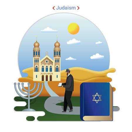 Flat rural landscape illustration symbolizing Judaism. A Rabbi Goes to Serve at the Synagogue. Illustration