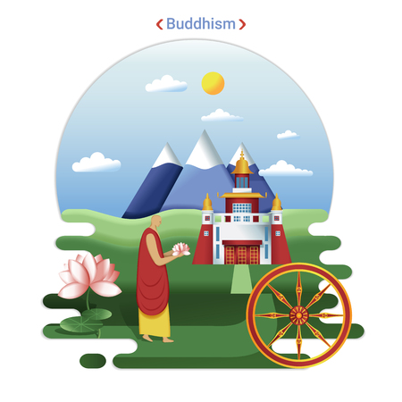 Flat rural landscape illustration symbolizing Buddhism. A Monk goes to Datsan service.