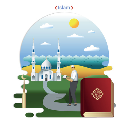 Flat rural landscape illustration symbolizing Islam. A Parishioner goes to prayer in the Mosque.