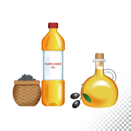 Vector flat icon illustration of sunflower oil, olive oil, sunflower seeds and olives. Colorful objects on a transparent background.