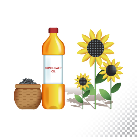 Vector flat icon illustration of sunflower, sunflower oil and sunflower seeds. Colorful objects on a transparent background. Иллюстрация
