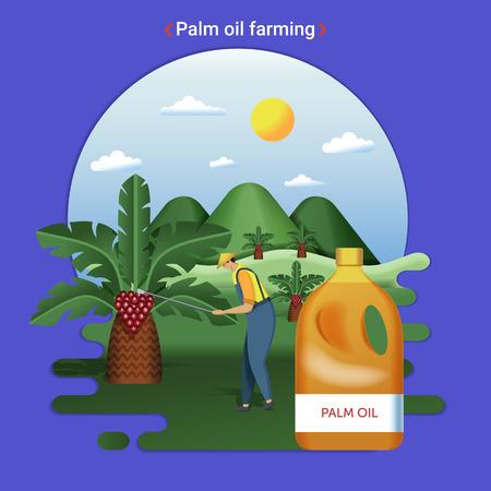 Flat farm landscape illustration of Palm oil farming. Rural landscape with palm hills and palm plantation. The farmer harvesting palm oil. Illustration