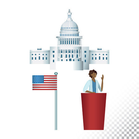 Vector flat icon illustration of US election symbols. Colorful objects on a transparent background.