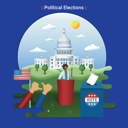 Flat city landscape illustration of US elections. Female presidential candidate gives a speech near the Capitol, Washington DC.  イラスト・ベクター素材