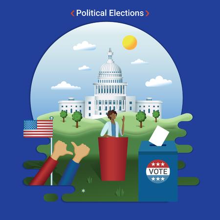 Ilustración de paisaje de ciudad plana de elecciones estadounidenses. Candidata presidencial femenina da un discurso cerca del Capitolio, Washington DC.