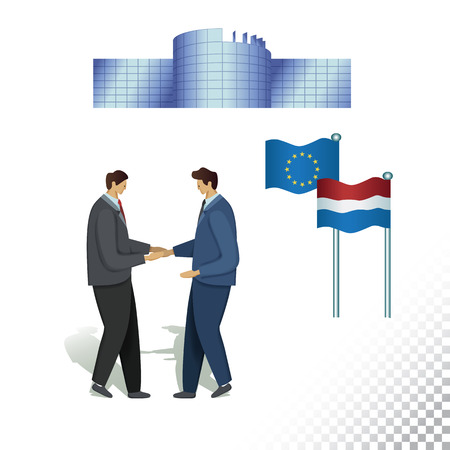 Vector flat icon illustration of European Parliament Consent Symbols. Colorful objects on a transparent background.