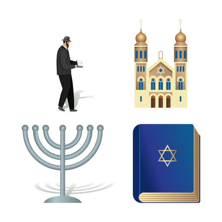 Vector flat icon illustration of symbolizing Judaism. Colorful objects on a transparent background. Illustration