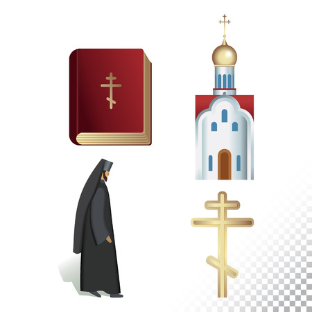 Vector flat icon illustration of symbolizing Orthodoxy. Colorful objects on a transparent background.