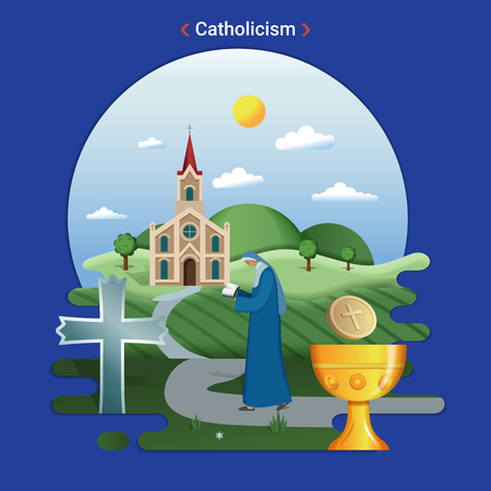 Flat rural landscape illustration symbolizing Catholicism. A Priest goes to serve in the catholic church.