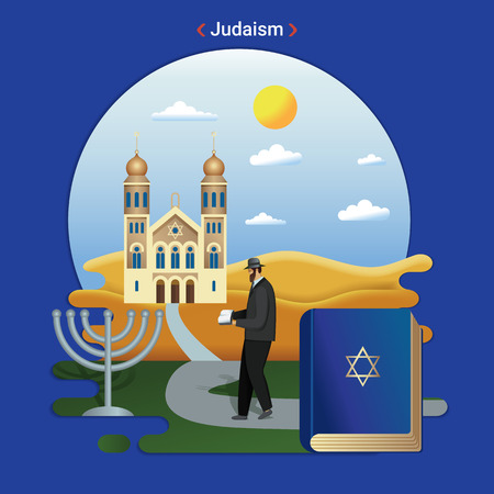 Flat rural landscape illustration symbolizing Judaism. A Rabbi Goes to Serve at the Synagogue.  イラスト・ベクター素材
