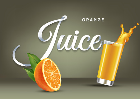 Vector realistic isolated illustration of orange and orange juice in glass. Ad poster with 3d effect of fresh beverage with splash. Healthy organic orange fruit and juice on olive background.