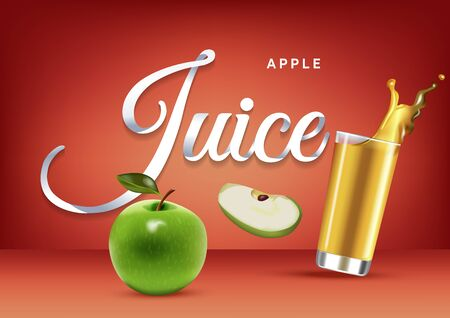 Vector realistic isolated illustration of apple and apple juice in glass. Ad poster with 3d effect of fresh beverage with splash. Healthy organic apple fruit and juice on red background. Illustration