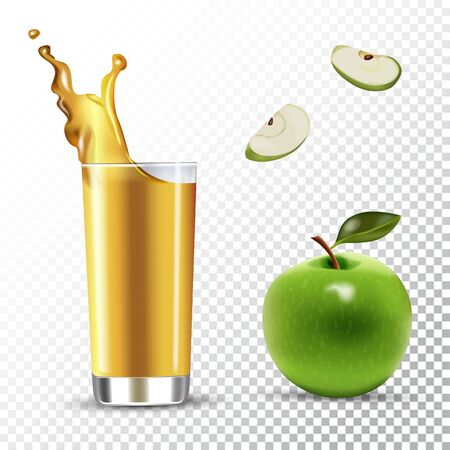 Vector realistic isolated illustration of apple and apple juice in glass. Ad poster with 3d effect of fresh beverage with splash. Healthy organic apple fruit and juice on transparent background.