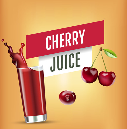 Vector realistic isolated illustration of cherry and cherry juice in glass. Ad poster with 3d effect of fresh beverage with splash. Healthy organic cherry berry and cherry juice on orange background.