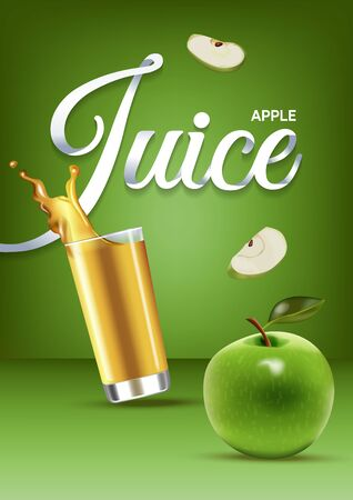 Vector realistic isolated illustration of apple and apple juice in glass. Ad poster with 3d effect of fresh beverage with splash. Healthy organic apple fruit and juice on green background.