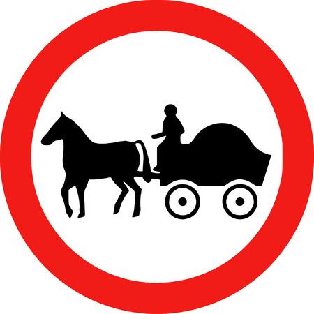 prohibido: Caballo Muestra dibujada Veh�culos Prohibida Vectores