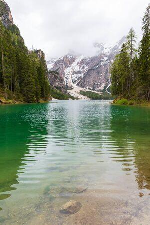 Landscape at Lake Braies or Pragser Wildsee located in Dolomites area, Italy.