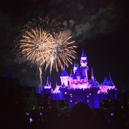 Fireworks of Disneyland at Night
