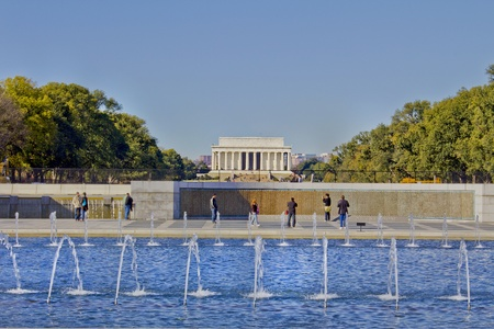 View of Lincoln Memorial from World War II Memorial in Washington DC  Stock Photo - 11690565