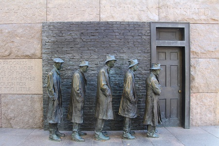 man waterfalls: Outdoor view of Hunger sculpture of Franklin Delano Roosevelt Memorial in Washington DC