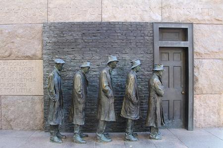 Vue extérieure de la sculpture de la faim de Franklin Delano Roosevelt Memorial à Washington DC Banque d'images - 11690553
