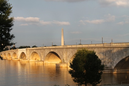 Washington Monument and Arlington Memorial Bridge on Potomac River Washington DC