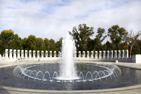 Fountains at the World War II Memorial located in Washington DC.