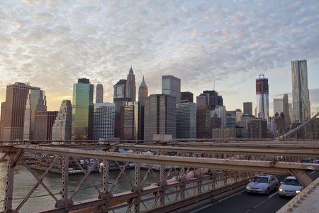 Brooklyn Bridge and Lower Manhattan closeup with skyscrapers and city skyline in the background, New York City  Stock Photo - 12246293