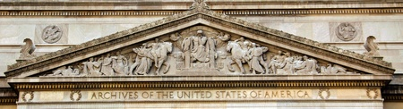 National Archives Building detail - close up view, facade in Washington DC, USA  photo